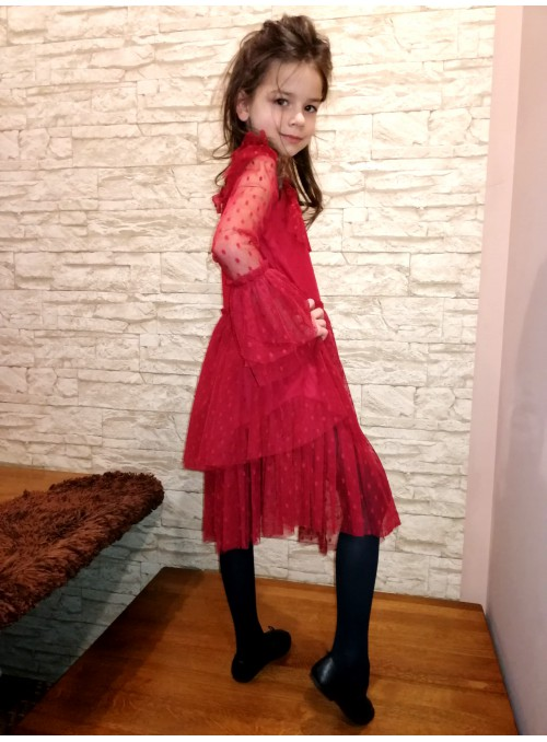 Sukienka falbany,stójka BORDO