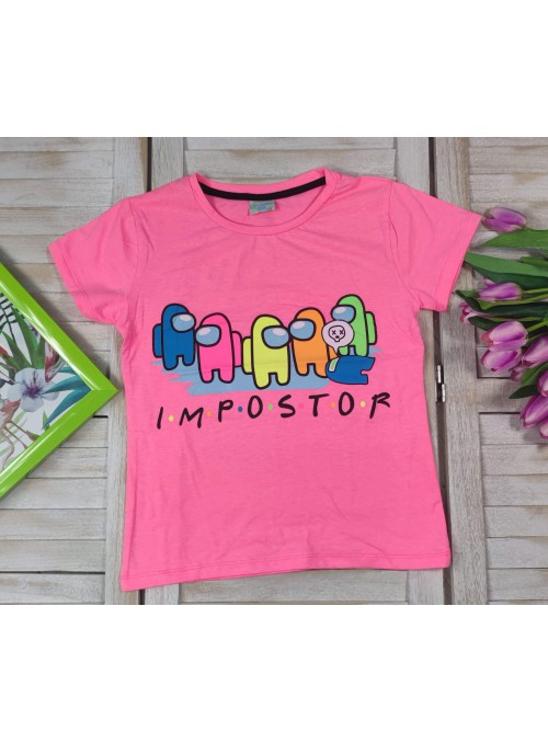 T-shirt AMONG US neon róż